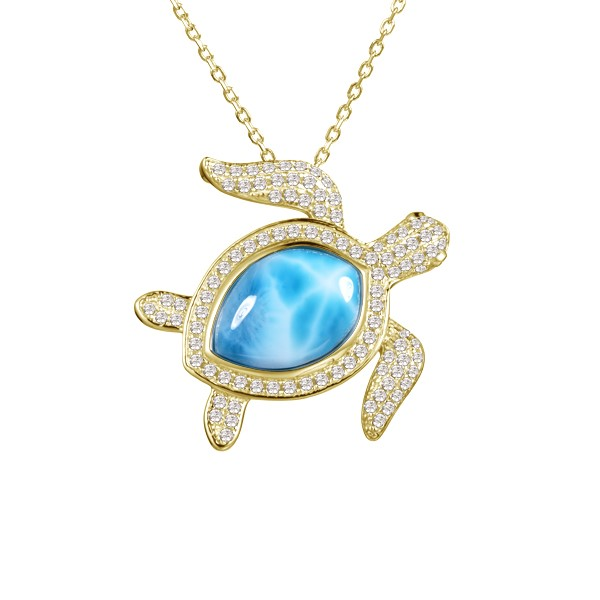 Necklace with turtle pendant and blue gemstone